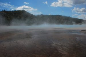 Mountain View with steamy springs
